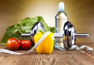 Healthy lifestyle concept - diet and exercise