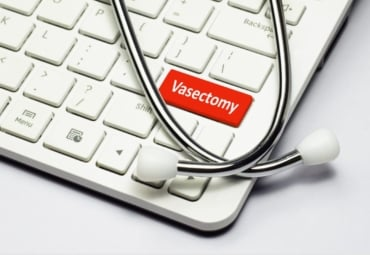 """A conceptual photo that shows the word """"vasectomy"""" as one of the keys on a computer keyboard, with a stethoscope lying on the keyboard"""