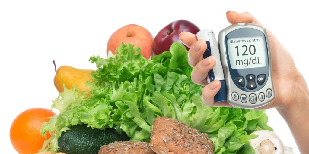 glucose monitor in front of healthy foods