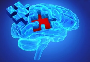 Illustration of human brain with puzzle piece missing, depicting memory loss as a symptom of dementia