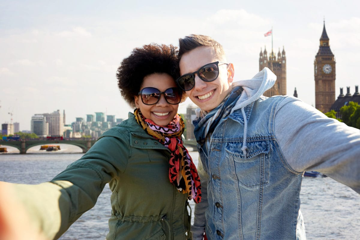 couple taking selfie with London background