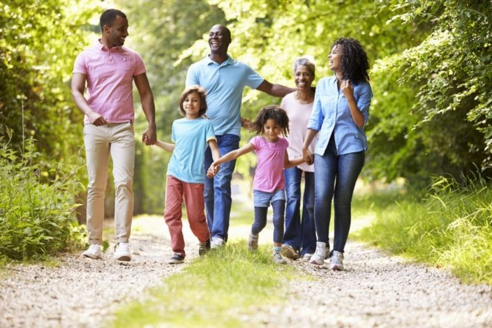 multigenerational family takes a walk on a country road