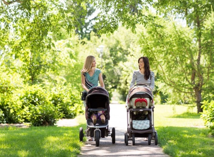 Two mothers walk their babies in strollers through the park
