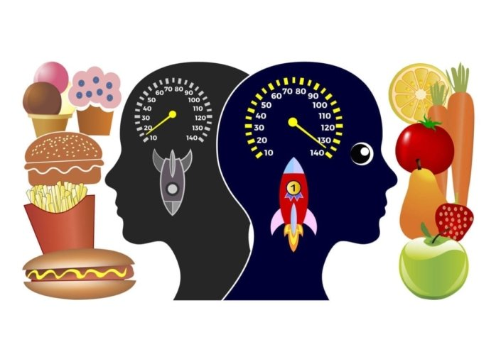 A conceptual graphic showing outlines of two heads with speedometers in place of brains, showing a slow speed for the head facing junk food and full speed for the head facing healthy food.