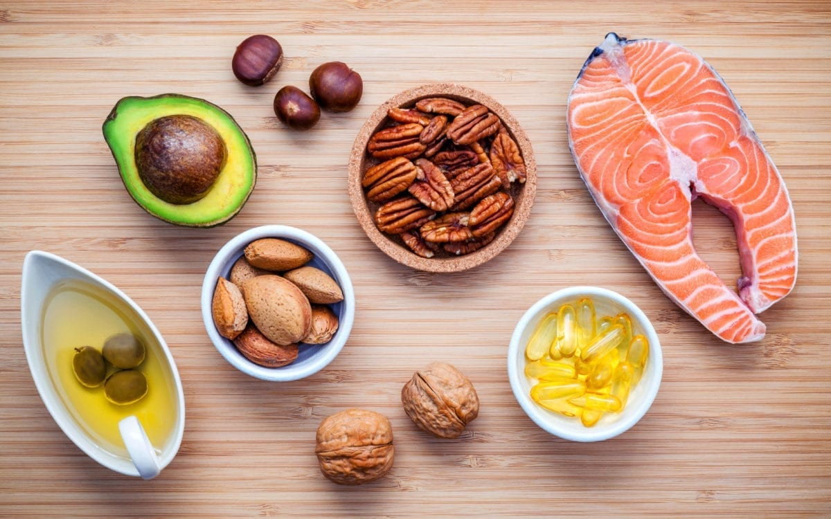 Assortment of foods high in omega-3s and unsaturated fats