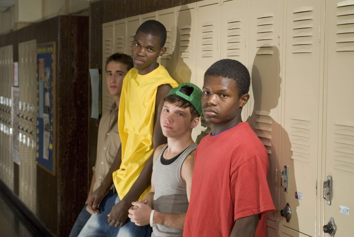 Kids leaning against lockers
