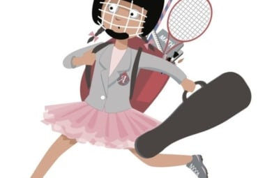 Drawing of girl running to her next event, carrying a music case, tennis racquet, lacrosse stick, and homework books