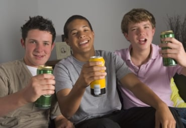 Teen boys drinking