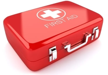 3d image of red first aid box against white background