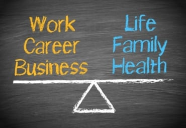 chalk drawing of scale showing work-life balance