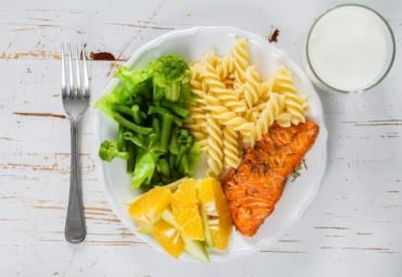 Plate full of healthy food, balancing food groups