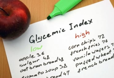 written list of foods with low and high glycemic index values