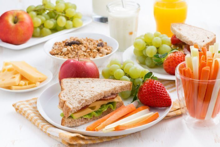 healthy meal with fruits and vegetables, close-up